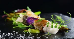 Pea, violet, potato & goats cheese with fried courgette by Eat 5 Star Bath